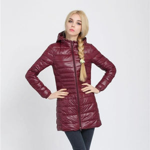 Arbitmatch Fashion Winter Ultra Light Down Jacket 90% Duck Down Hooded Jackets Long Warm Slim Coat Wine Red / S