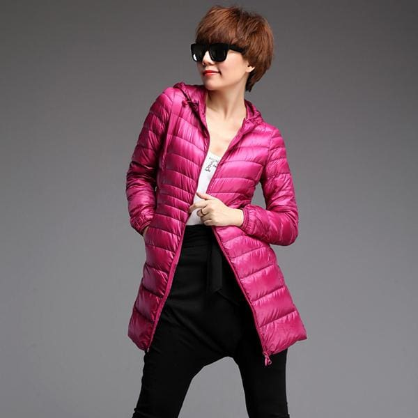 Arbitmatch Fashion Winter Ultra Light Down Jacket 90% Duck Down Hooded Jackets Long Warm Slim Coat Rose / S