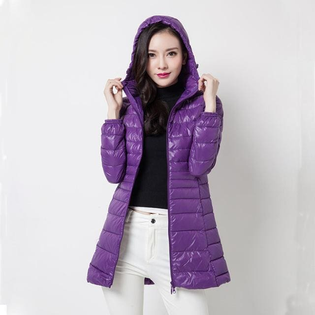 Arbitmatch Fashion Winter Ultra Light Down Jacket 90% Duck Down Hooded Jackets Long Warm Slim Coat Purple / S