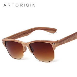 ARTORIGIN Half Frame Wood Sunglasses Women Men Wooden Glasses Rivet Brand Designer Eyewear Oculos De