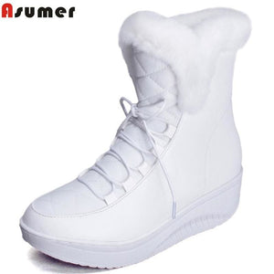 Asumer Hot Sale Shoes Women Boots Solid Slip-On Soft Cute Women Snow Boots Round Toe Flat With