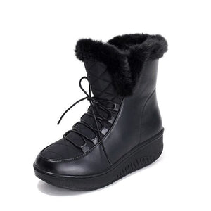 Asumer Hot Sale Shoes Women Boots Solid Slip-On Soft Cute Women Snow Boots Round Toe Flat With Black / 4