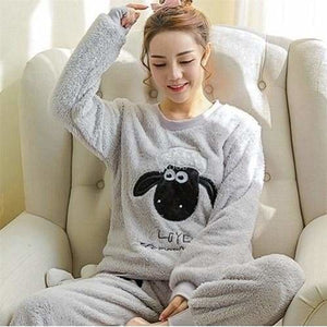 Autumn And Winter Women Pyjamas Sets Thick Warm Coral Velvet Suit Flannel Long Sleeve Female Cartoon 7 Gray Sheep / M