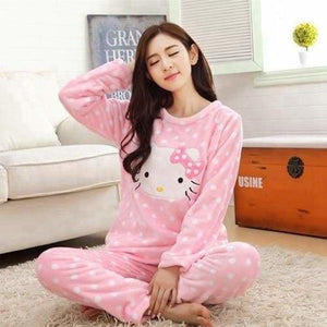 Autumn And Winter Women Pyjamas Sets Thick Warm Coral Velvet Suit Flannel Long Sleeve Female Cartoon 13Kitty / M