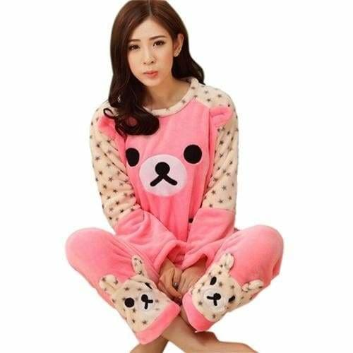 Autumn And Winter Women Pyjamas Sets Thick Warm Coral Velvet Suit Flannel Long Sleeve Female Cartoon 16 Pink Bear / M