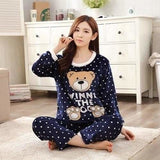 Autumn And Winter Women Pyjamas Sets Thick Warm Coral Velvet Suit Flannel Long Sleeve Female Cartoon 4 Dotted Bear / M