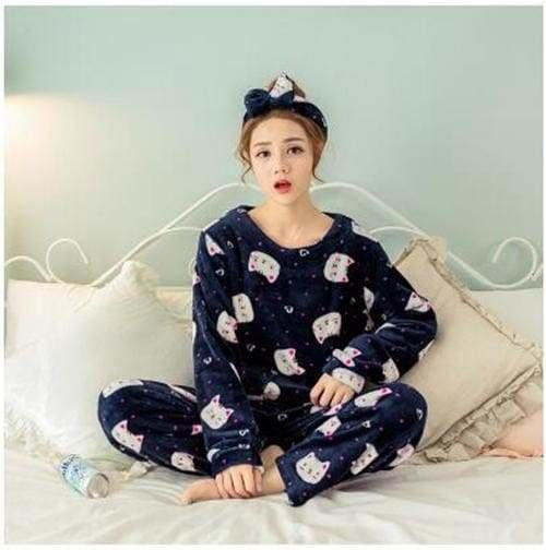 Autumn And Winter Women Pyjamas Sets Thick Warm Coral Velvet Suit Flannel Long Sleeve Female Cartoon Cat / M