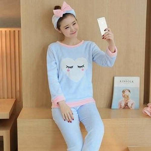 Autumn And Winter Women Pyjamas Sets Thick Warm Coral Velvet Suit Flannel Long Sleeve Female Cartoon 5 Blue Eyelashes / M