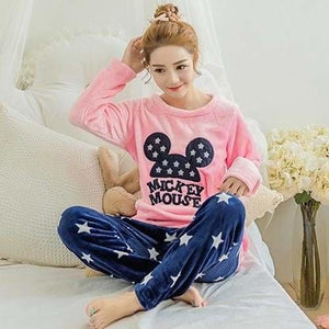 Autumn And Winter Women Pyjamas Sets Thick Warm Coral Velvet Suit Flannel Long Sleeve Female Cartoon Red Mickey / M