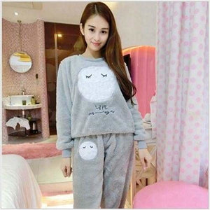 Autumn And Winter Women Pyjamas Sets Thick Warm Coral Velvet Suit Flannel Long Sleeve Female Cartoon 12 Owl Gray / M