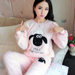 Autumn And Winter Women Pyjamas Sets Thick Warm Coral Velvet Suit Flannel Long Sleeve Female Cartoon 8 Pink Sheep / M