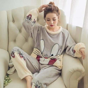 Autumn And Winter Women Pyjamas Sets Thick Warm Coral Velvet Suit Flannel Long Sleeve Female Cartoon Gray Rabbit / M