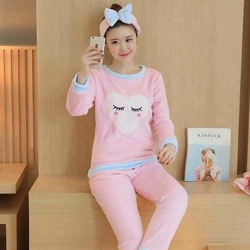 Autumn And Winter Women Pyjamas Sets Thick Warm Coral Velvet Suit Flannel Long Sleeve Female Cartoon 6 Pink Eyelashes / M