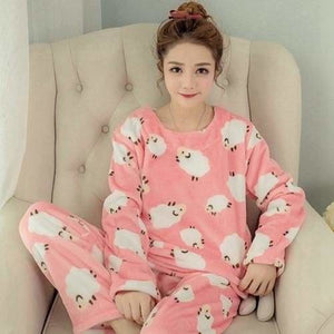 Autumn And Winter Women Pyjamas Sets Thick Warm Coral Velvet Suit Flannel Long Sleeve Female Cartoon 11 Little Sheep / M