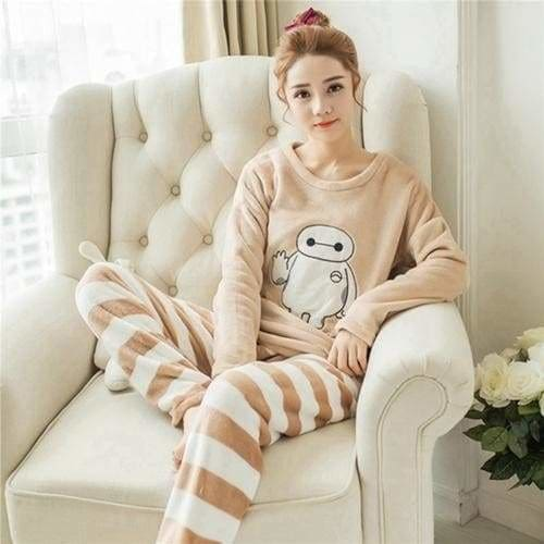 Autumn And Winter Women Pyjamas Sets Thick Warm Coral Velvet Suit Flannel Long Sleeve Female Cartoon 3 Baymax / M