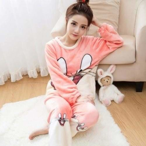 Autumn And Winter Women Pyjamas Sets Thick Warm Coral Velvet Suit Flannel Long Sleeve Female Cartoon Red Rabbit / M