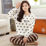 Autumn And Winter Women Pyjamas Sets Thick Warm Coral Velvet Suit Flannel Long Sleeve Female Cartoon 14 White Heart / M