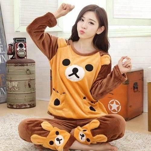 Autumn And Winter Women Pyjamas Sets Thick Warm Coral Velvet Suit Flannel Long Sleeve Female Cartoon 15 Yello Bear / M