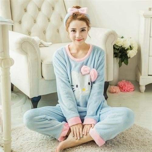 Autumn And Winter Women Pyjamas Sets Thick Warm Coral Velvet Suit Flannel Long Sleeve Female Cartoon 1 Blue Cat Headband / M
