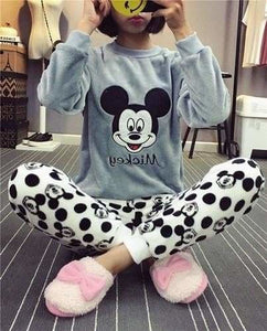 Autumn And Winter Women Pyjamas Sets Thick Warm Coral Velvet Suit Flannel Long Sleeve Female Cartoon Gray Mickey / M