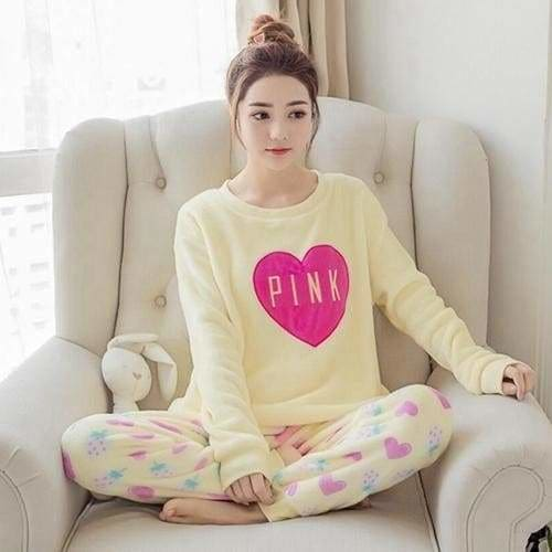 Autumn And Winter Women Pyjamas Sets Thick Warm Coral Velvet Suit Flannel Long Sleeve Female Cartoon 19 Pink / M