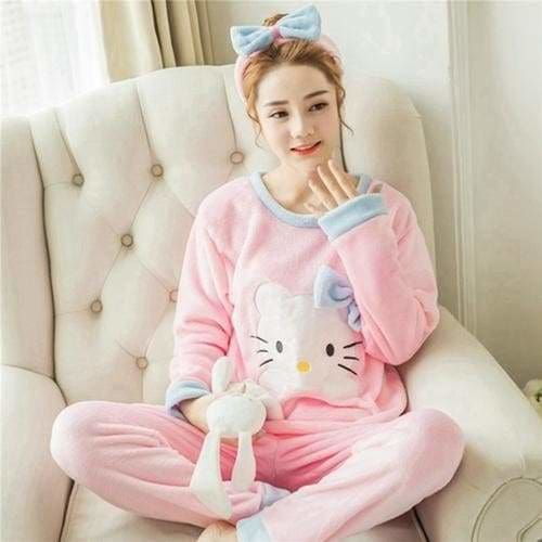 Autumn And Winter Women Pyjamas Sets Thick Warm Coral Velvet Suit Flannel Long Sleeve Female Cartoon 2 Pink Cat Headband / M