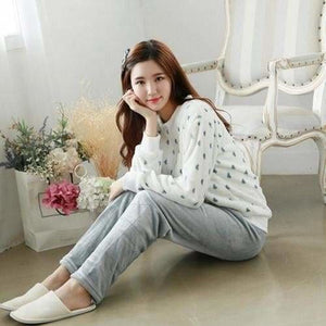 Autumn And Winter Women Pyjamas Sets Thick Warm Coral Velvet Suit Flannel Long Sleeve Female Cartoon 18 Peach Heart / M