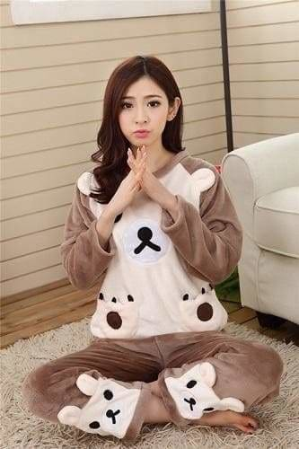 Autumn And Winter Women Pyjamas Sets Thick Warm Coral Velvet Suit Flannel Long Sleeve Female Cartoon Brown Bear / M