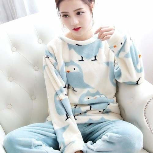 Autumn And Winter Women Pyjamas Sets Thick Warm Coral Velvet Suit Flannel Long Sleeve Female Cartoon Blue / M