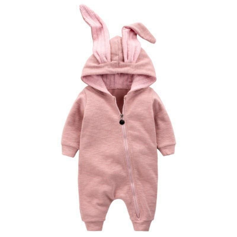 Autumn Baby Fashion Cute Warm Rompers Cute Rabbit Ears Design Baby Bunny Hooded Romper Newborn Boys and Girls One-pieces Suits - MBMCITY