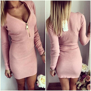 Autumn Dress Knitting 2017 Women Dresses Zipper O-Neck Sexy Knitted Dress Long Sleeve Bodycon Sheath White / S