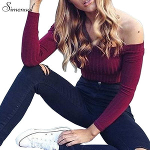 Autumn new 2017 off shoulder crop top t shirts hot sale long sleeve solid short t-shirts for women