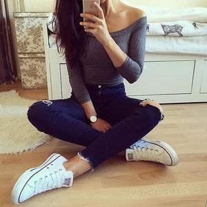 Autumn New 2017 Off Shoulder Crop Top T Shirts Hot Sale Long Sleeve Solid Short T-Shirts For Women Navy Blue / S