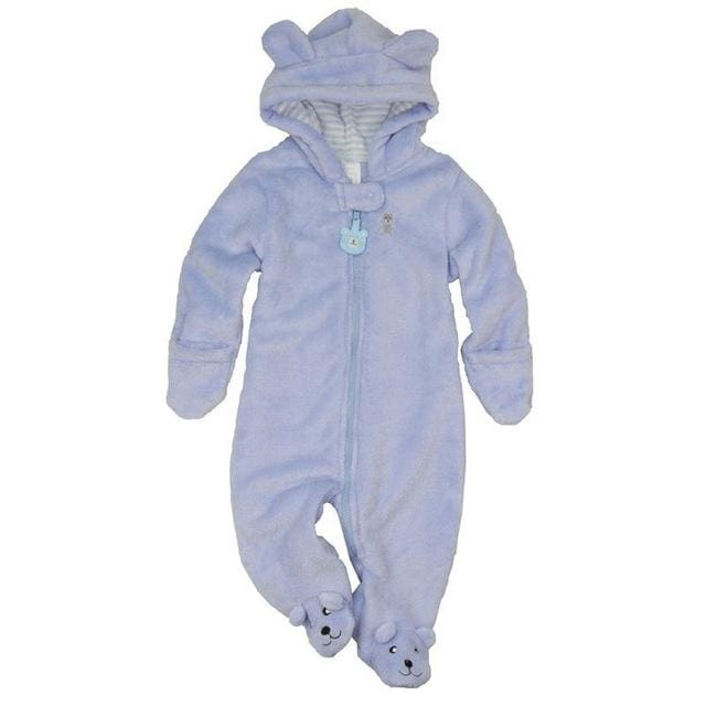 Autumn Winter Baby Rompers Bear Style Baby Coral Fleece Brand Hoodies Jumpsuit Baby Girls Boys Sky Blue / 3M