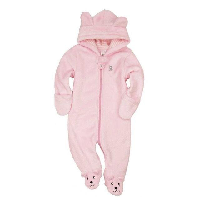 Autumn Winter Baby Rompers Bear Style Baby Coral Fleece Brand Hoodies Jumpsuit Baby Girls Boys Pink / 3M