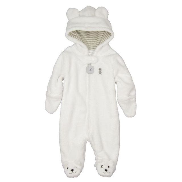 Autumn Winter Baby Rompers Bear Style Baby Coral Fleece Brand Hoodies Jumpsuit Baby Girls Boys White / 3M