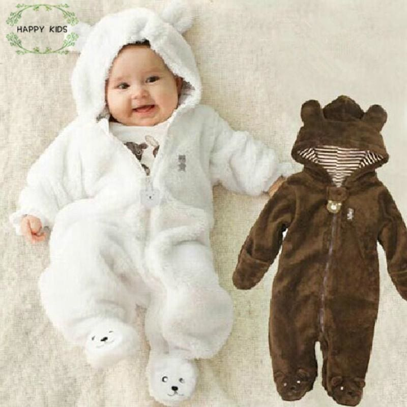 Autumn Winter Child Bear children's coral fleece Hoodies brand overalls newborn girls girls sliders - MBMCITY