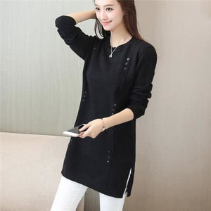 Autumn Winter Women Pullovers Sweater Knitted Elasticity Casual Jumper Fashion Loose O-Collar Warm Black / S