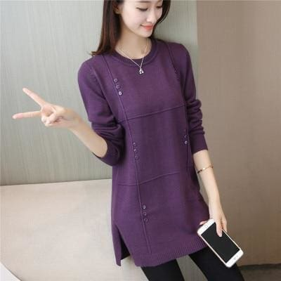 Autumn Winter Women Pullovers Sweater Knitted Elasticity Casual Jumper Fashion Loose O-Collar Warm Purple / S