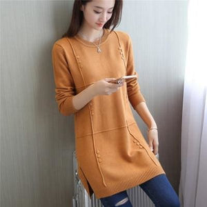 Autumn Winter Women Pullovers Sweater Knitted Elasticity Casual Jumper Fashion Loose O-Collar Warm Photo Color / S