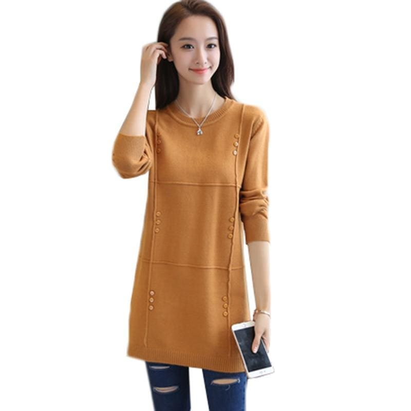 Autumn Winter Women Pullovers Sweater Knitted Elasticity Casual Jumper Fashion Loose O-Collar Warm