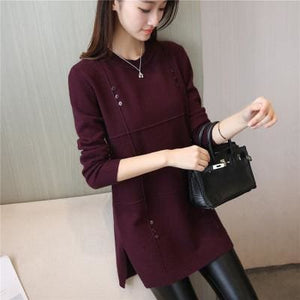 Autumn Winter Women Pullovers Sweater Knitted Elasticity Casual Jumper Fashion Loose O-Collar Warm Red Wine / S
