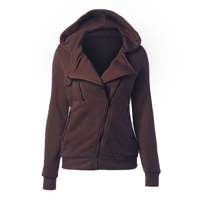 Autumn Winter Zipper Women Basic Jackets Casual Female Outerwear Coats Warm Ladies Jackets Cardigan Brown / S