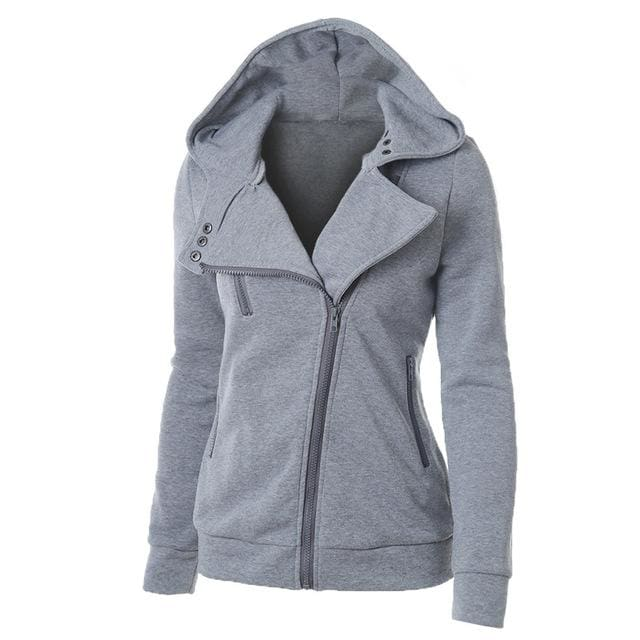Autumn Winter Zipper Women Basic Jackets Casual Female Outerwear Coats Warm Ladies Jackets Cardigan Gray / S
