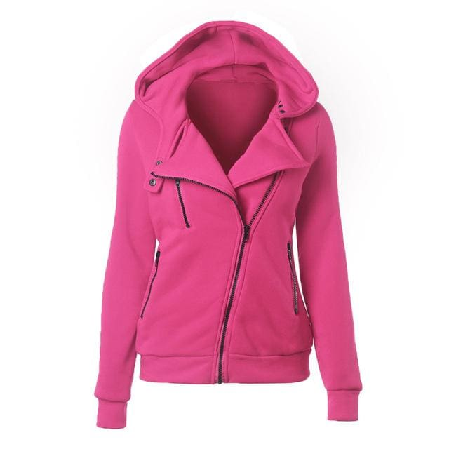 Autumn Winter Zipper Women Basic Jackets Casual Female Outerwear Coats Warm Ladies Jackets Cardigan Rose Red / S
