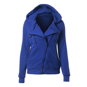 Autumn Winter Zipper Women Basic Jackets Casual Female Outerwear Coats Warm Ladies Jackets Cardigan Royal Blue / S