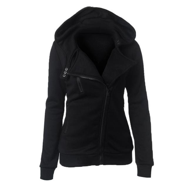 Autumn Winter Zipper Women Basic Jackets Casual Female Outerwear Coats Warm Ladies Jackets Cardigan Black / S
