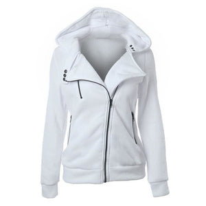 Autumn Winter Zipper Women Basic Jackets Casual Female Outerwear Coats Warm Ladies Jackets Cardigan White / S