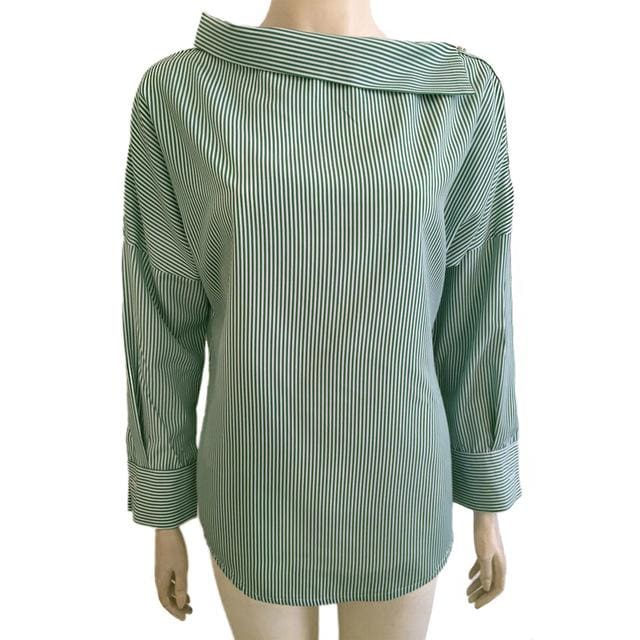 Autumn Womens Striped Sexy Oblique Strapless Loose Long-Sleeved Collar Hedging Bat Sleeve Blouse Green / S