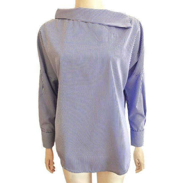 Autumn Womens Striped Sexy Oblique Strapless Loose Long-Sleeved Collar Hedging Bat Sleeve Blouse Blue / S